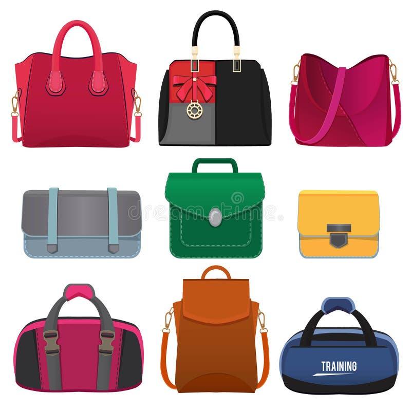 Beaux sacs à main pour des femmes Photos de vecteur réglées illustration de vecteur