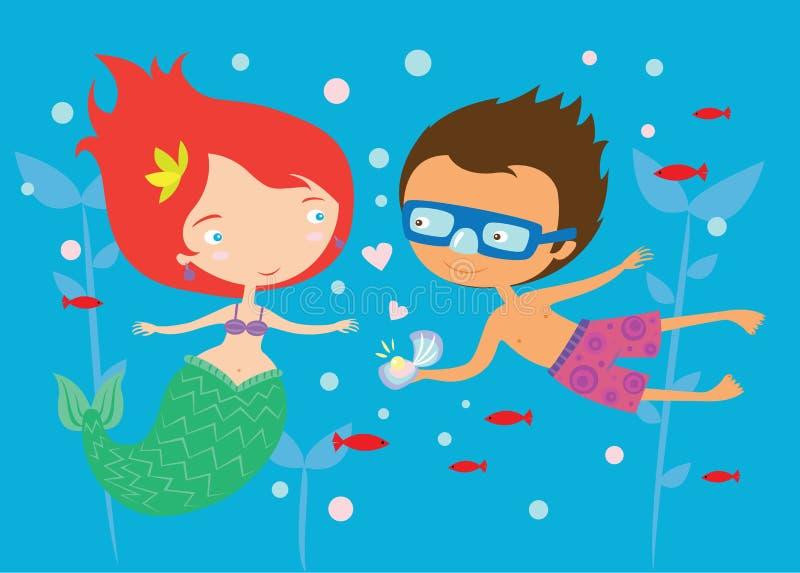 Beaux sirène et garçon dans l'illustration mignonne d'amour illustration stock