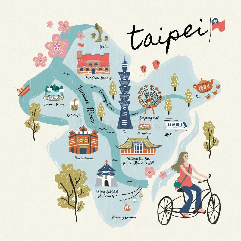 Beaux symboles de voyage de Taïwan illustration stock