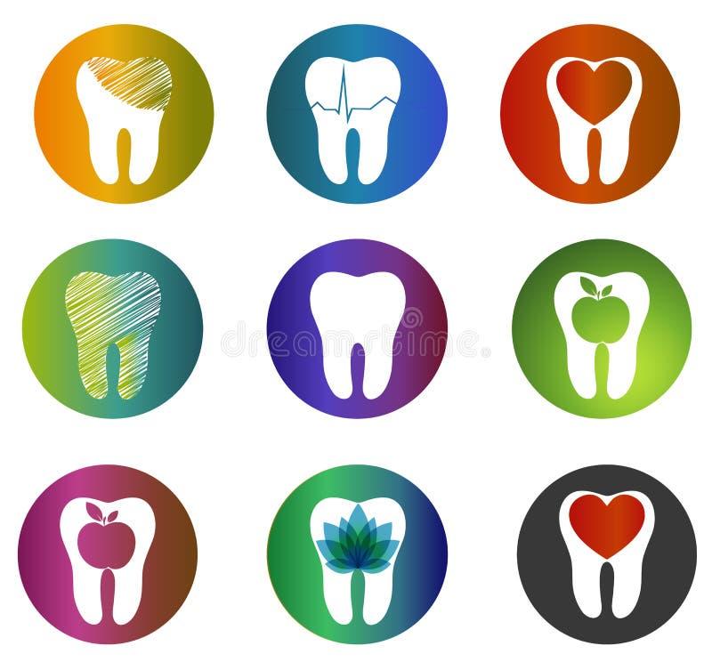 Beaux symboles dentaires de collection énorme illustration de vecteur