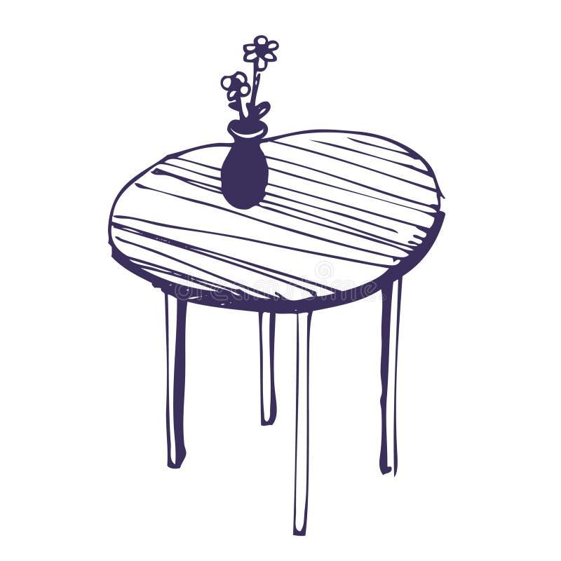 Beaux table et vase avec des fleurs illustration stock