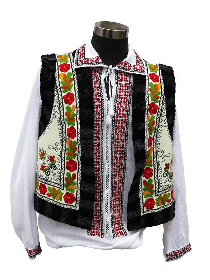 Beaux vêtements nationaux balkaniques de costume d'isolement au-dessus du blanc image stock