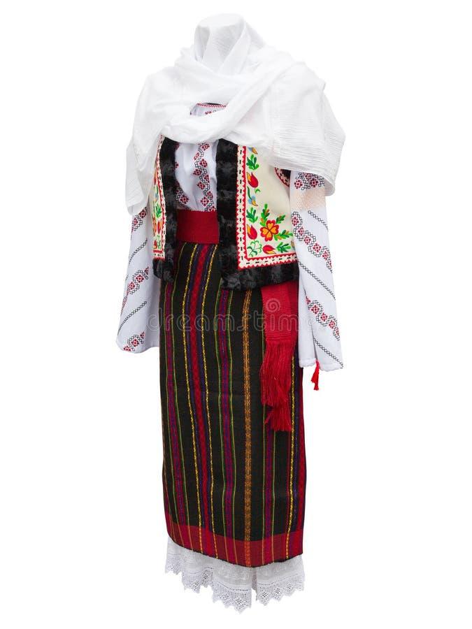 Beaux vêtements nationaux balkaniques de costume d'isolement au-dessus du blanc photographie stock
