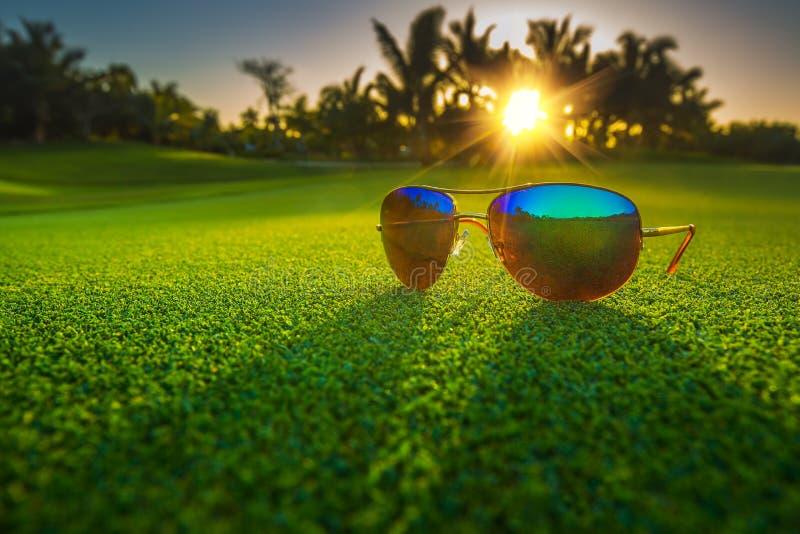 Beaux verres sur le terrain de golf photos stock