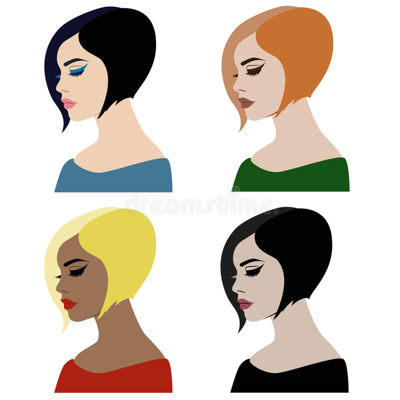 Beaux visages de femme avec le maquillage et la coiffure différents illustration libre de droits