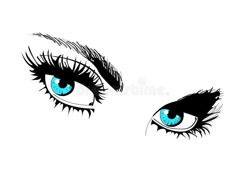 Beaux yeux bleus femelles Dénommer les yeux des femmes illustration stock