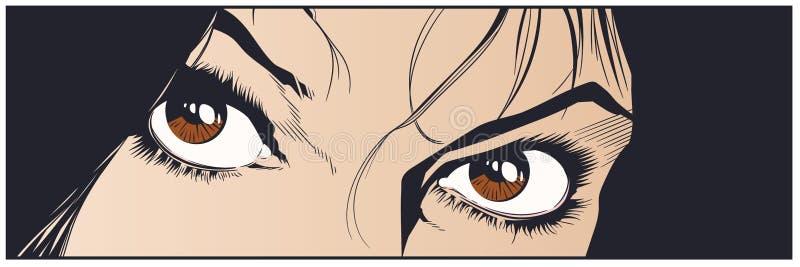 Beaux yeux de fille Illustration courante illustration stock