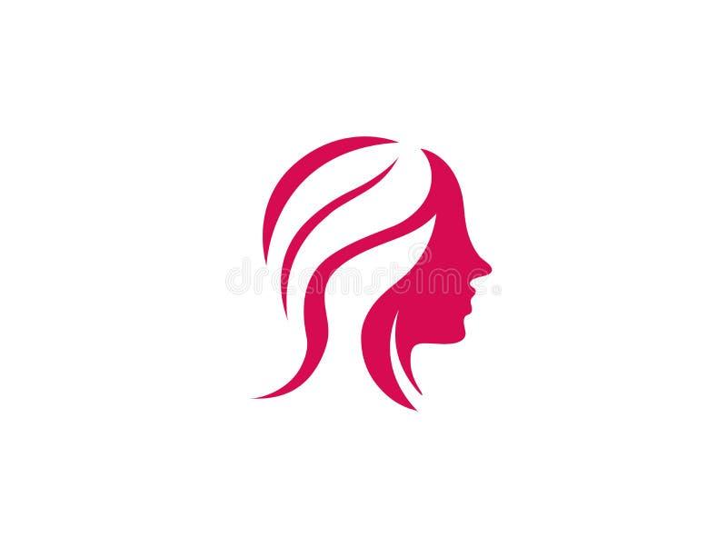 beauy美发师商标设计的妇女和构成 皇族释放例证