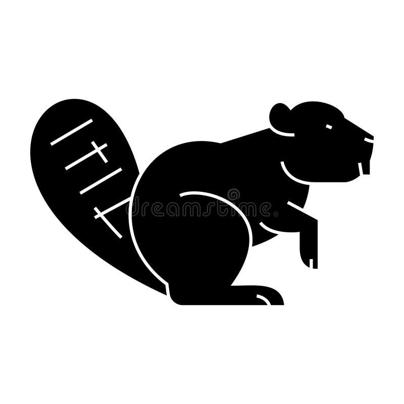 Beaver значок, иллюстрация вектора, знак на изолированной предпосылке иллюстрация вектора