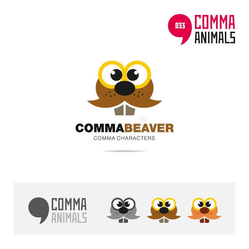 Beaver animal concept icon set and modern brand identity logo template and app symbol based on comma sign vector illustration