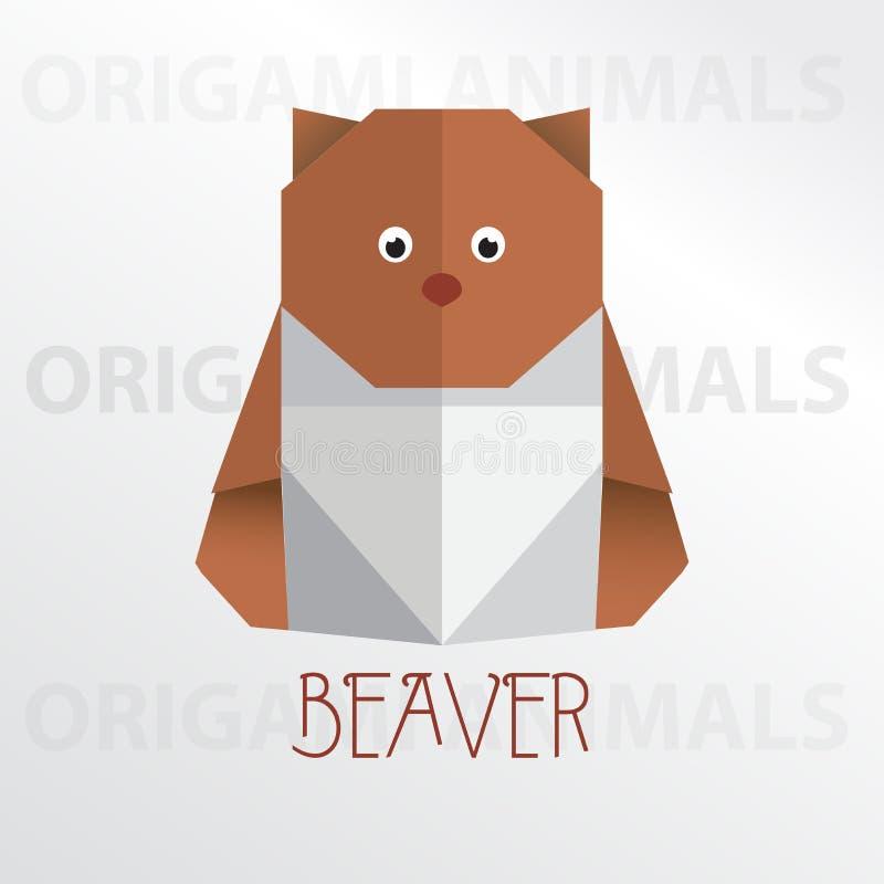Beaver origami paper art illustration. Beaver cartoon mascot origami art illustration colorful animal origami art vector illustration