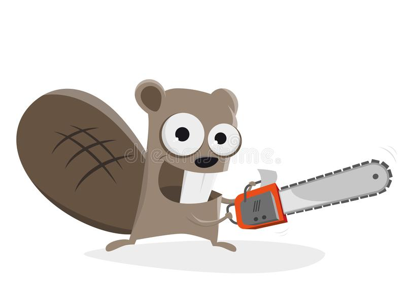 Beaver with chainsaw clipart vector illustration