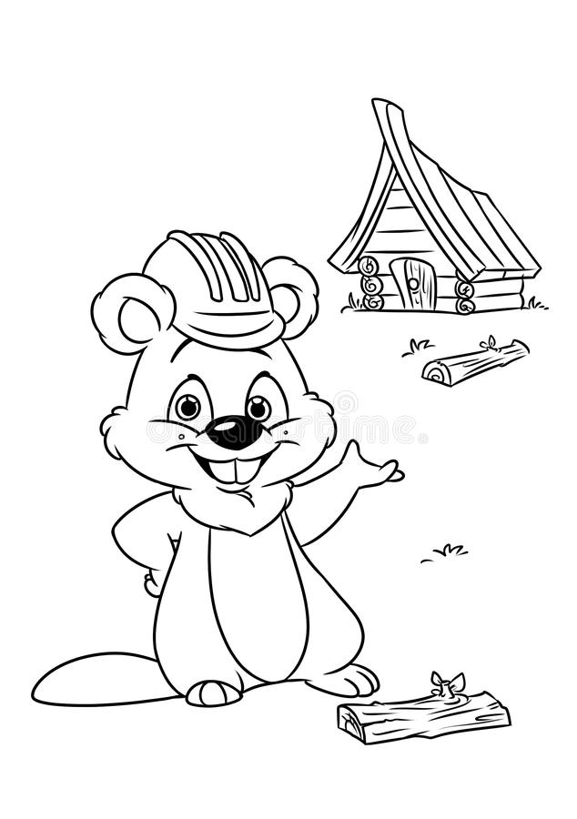 Beaver coloring pages cartoon. Illustration stock illustration