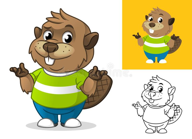 Beaver with Confused Gesture Cartoon Character Mascot Illustration vector illustration