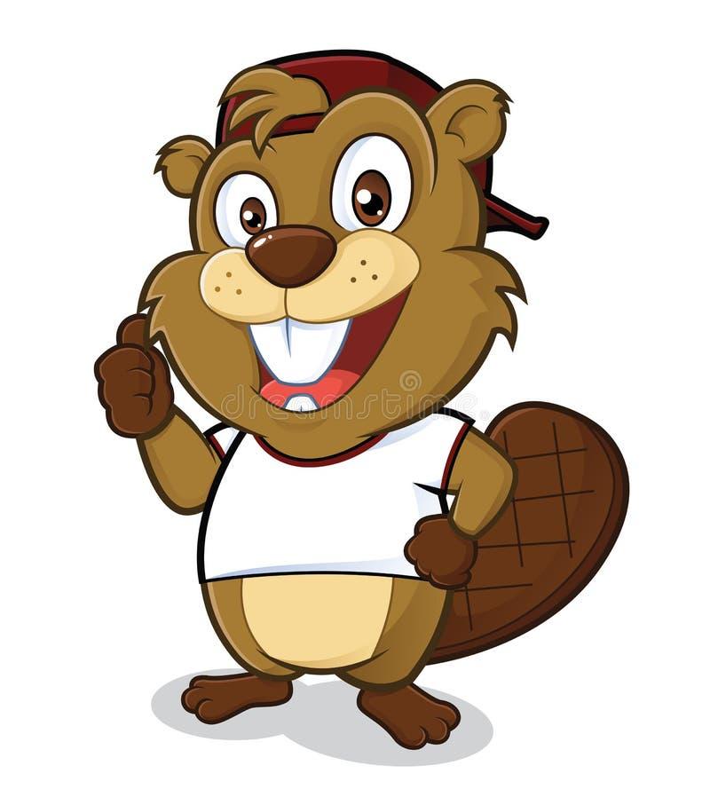 Beaver das Tragen eines Hutes und des weißen T-Shirts stock abbildung