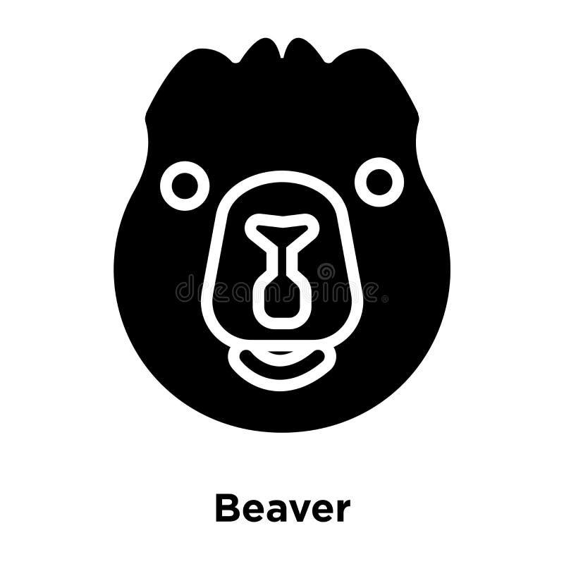 Beaver den Ikonenvektor, der auf weißem Hintergrund, Logokonzept von lokalisiert wird lizenzfreie abbildung