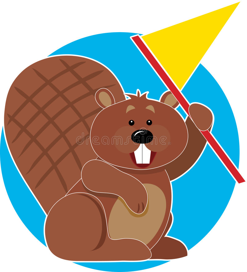 Beaver with Flag. A Beaver holding a flag and cheering royalty free illustration