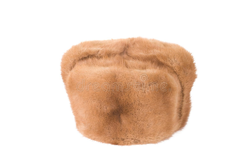 Beaver fur cap. Isolated on white stock image