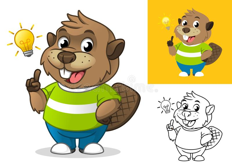 Beaver Get an Idea with Light Bulb Cartoon Character Mascot Illustration royalty free illustration