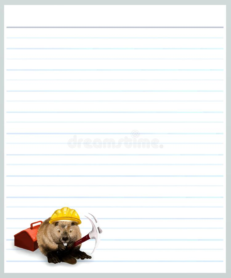 Beaver on Grey Color Lined Paper. Hand Drawing of Worker Beaver Holding A Pick Axe on A Blank Gey Lined Paper Background with Copy Space for Text Decorated royalty free stock photo