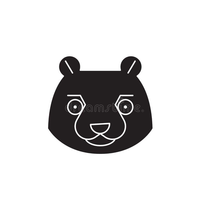 Beaver head black vector concept icon. Beaver head flat illustration, sign royalty free illustration