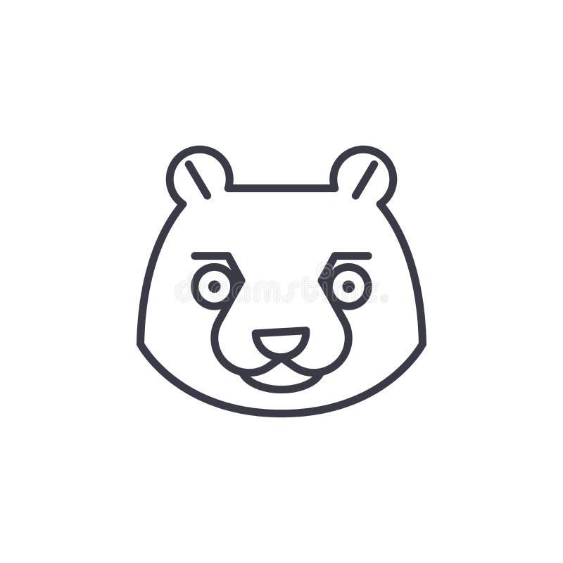 Beaver head vector line icon, sign, illustration on background, editable strokes stock illustration