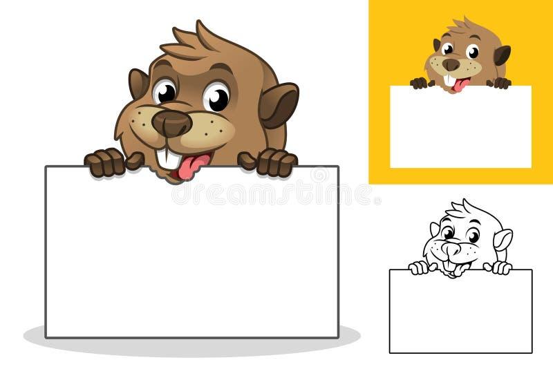 Beaver Holding Blank Board Cartoon Character Mascot Illustration royalty free illustration
