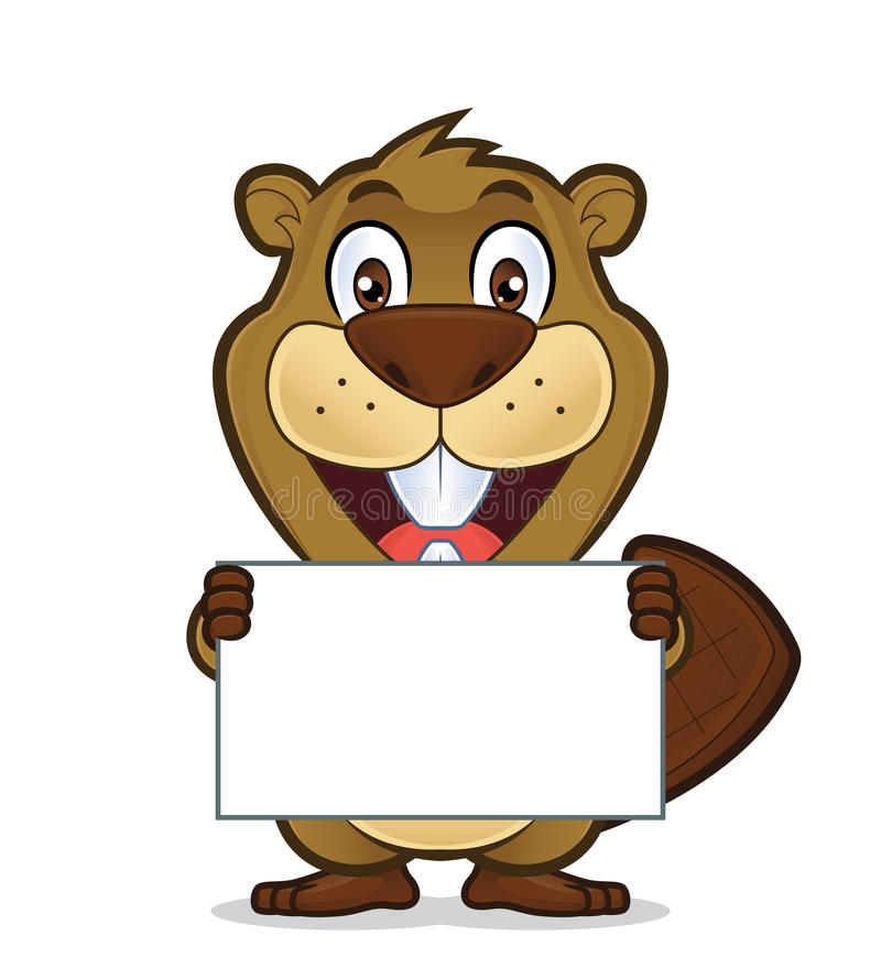 Beaver holding a blank sign. Clipart picture of a beaver cartoon character holding a blank sign stock illustration