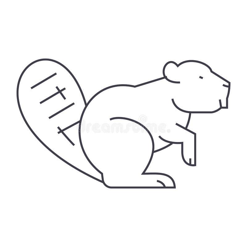 Beaver la línea icono, muestra, ejemplo del vector en el fondo, movimientos editable ilustración del vector