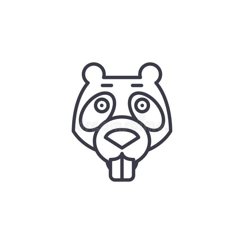 Beaver la línea icono, muestra, ejemplo del vector en el fondo, movimientos editable stock de ilustración