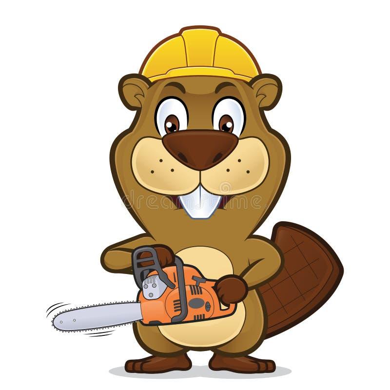 Beaver llevar un sombrero de la construcción y sostener una motosierra stock de ilustración
