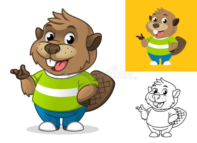 Beaver with Presenting Hand Gesture Cartoon Character Mascot Illustration vector illustration