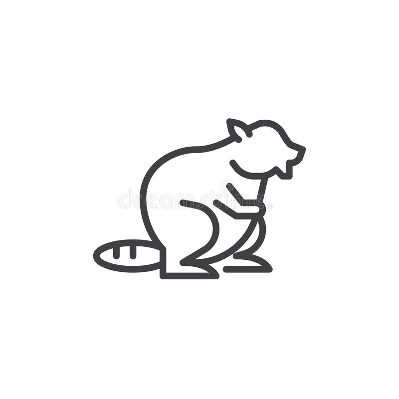 Beaver side view line icon vector illustration