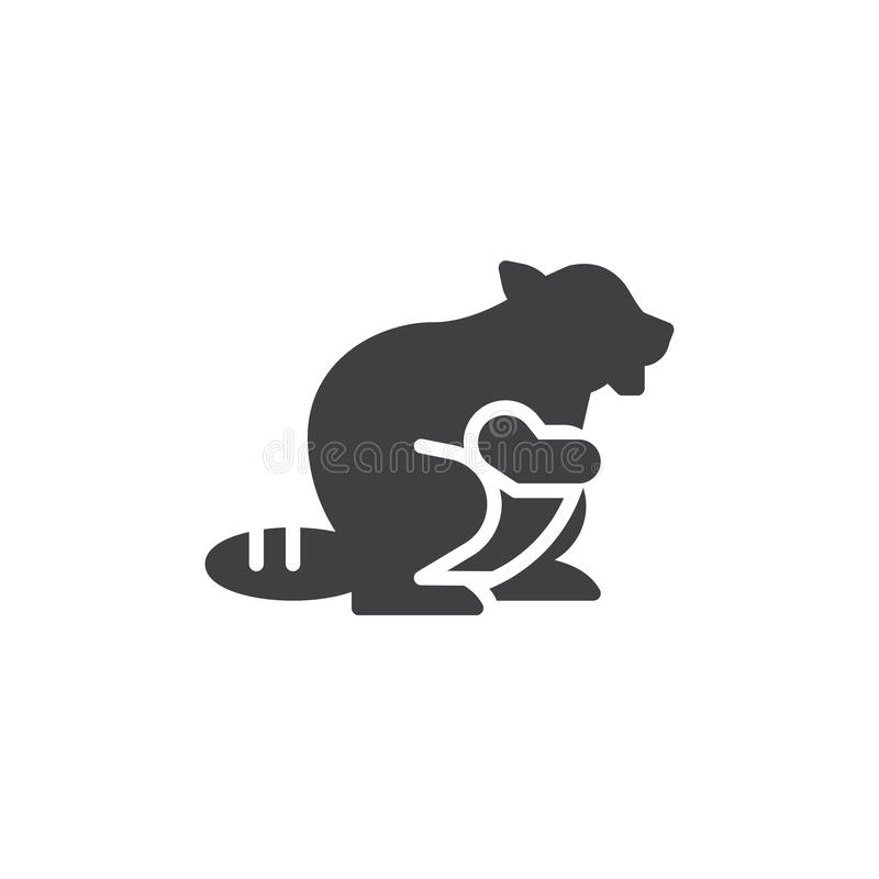 Beaver side view vector icon. Filled flat sign for mobile concept and web design. Beaver animal glyph icon. Broad-tailed rodent symbol, logo illustration royalty free illustration