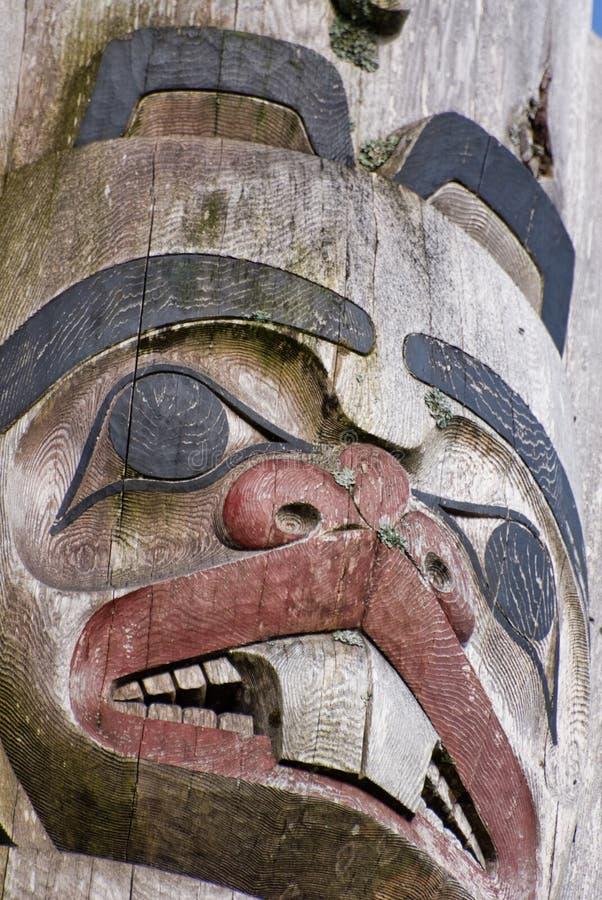 Beaver Totem. Beaver depicted in Haida carved totem Haida Gwaii, BC, Canada stock photography