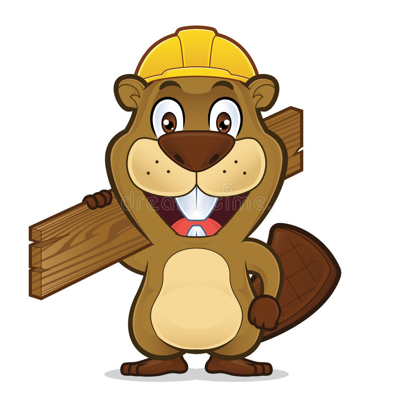 Beaver wearing a construction hat and holding a plank of wood vector illustration