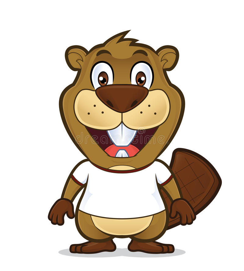 Beaver wearing a white t shirt. Clipart picture of a beaver cartoon character wearing a white t shirt vector illustration
