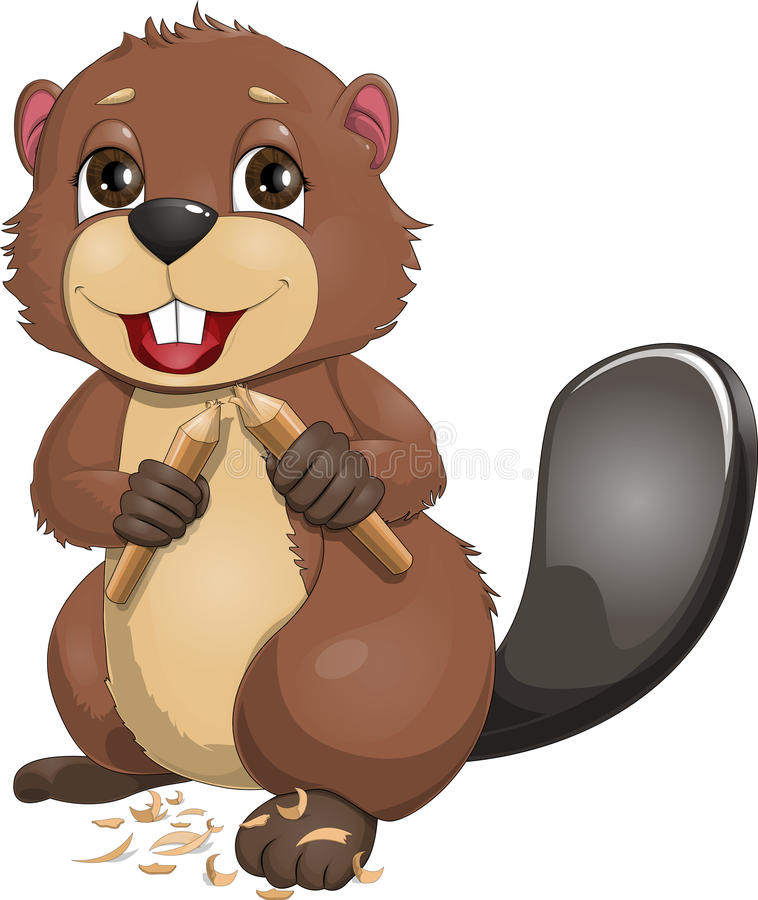 Beaver. Who is holding a wand stock illustration