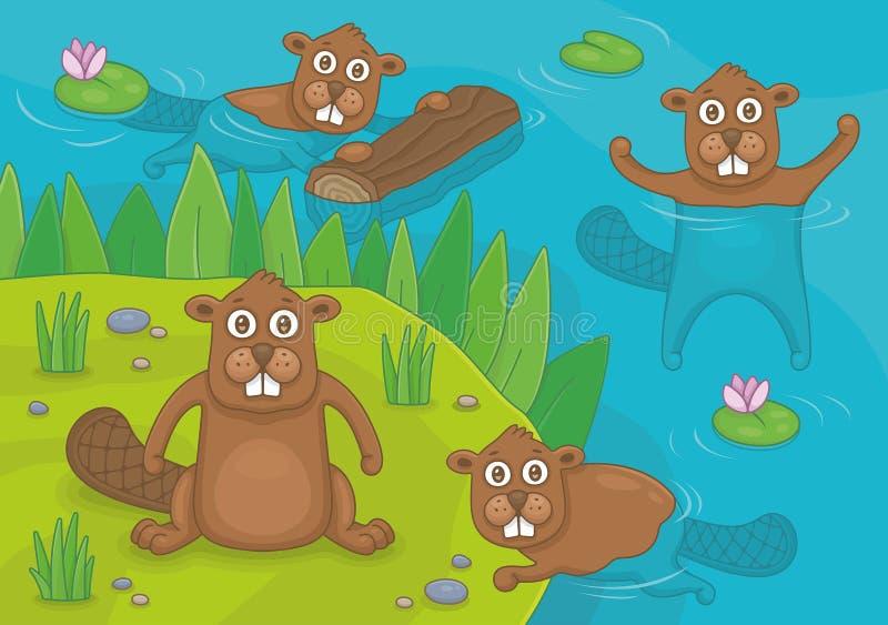 Family of Beavers vector illustration