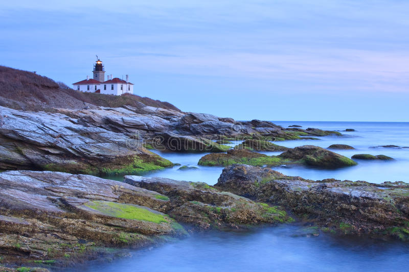 Beavertail Lighthouse. Dusk view of the lighthouse located in Conanicut Island, Rhode Island stock photo