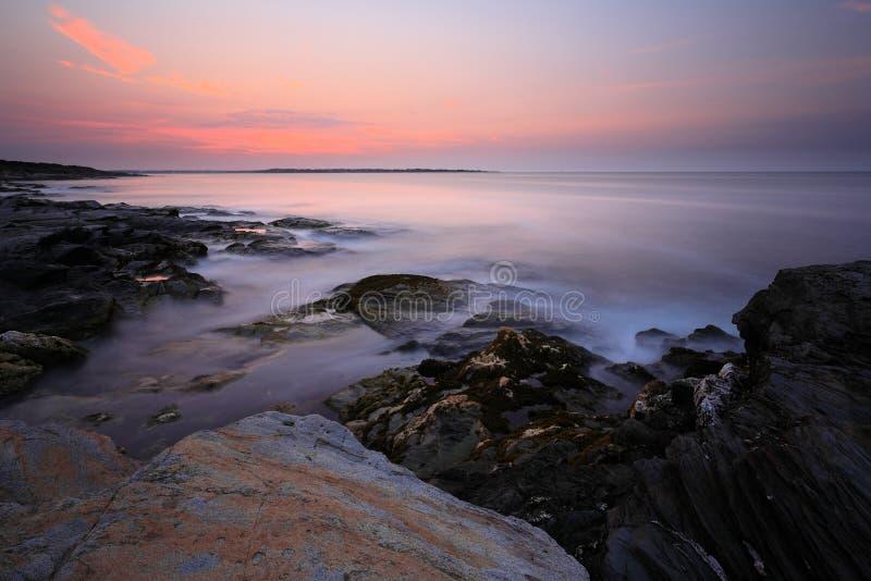 Beavertail Point sunrise. Beavertail state park sunrise at Jamestown RI stock photography