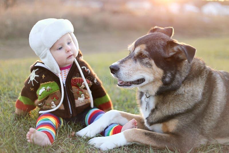 Bebé adorable liado encima de exterior con el perro casero imagenes de archivo