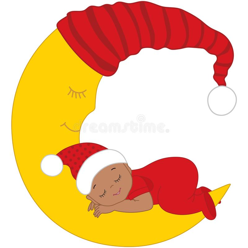 Bebé afroamericano lindo del vector en dormir de la ropa de la Navidad stock de ilustración