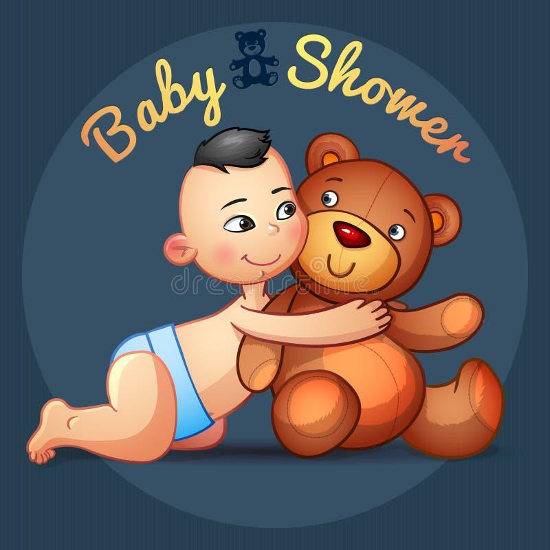 Bebé asiático con el juguete de Teddy Bear de los abrazos en un gris stock de ilustración