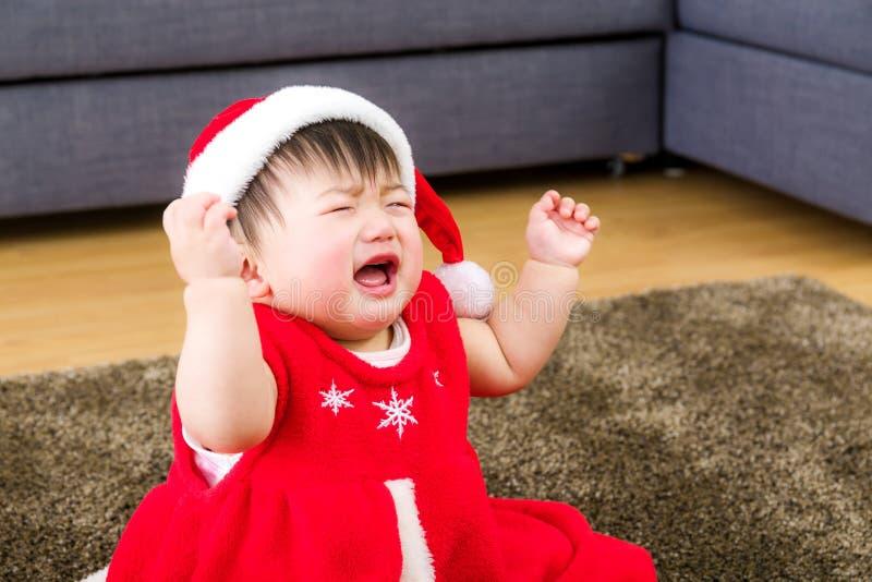 Bebé asiático con la preparación de Navidad fotografía de archivo