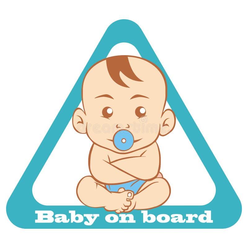 Bebé a bordo, señal de tráfico, forma del triángulo, icono del vector stock de ilustración