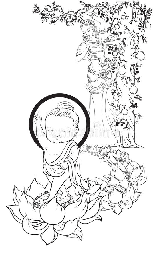 Bebé Buda llevado y mamá, ejemplo de Buda, aislado en blanco stock de ilustración
