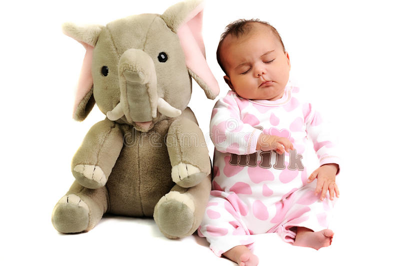 Bebé com assento e sono com elefante foto de stock royalty free