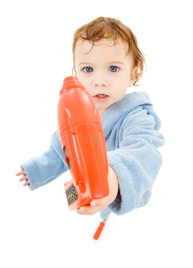 Bebé com broca do brinquedo fotografia de stock
