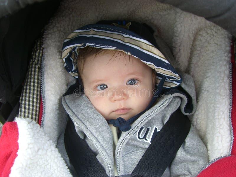 Bebé com olhos azuis fotos de stock